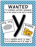 Letter Y sounds like i or e POSTER - FREEBIE