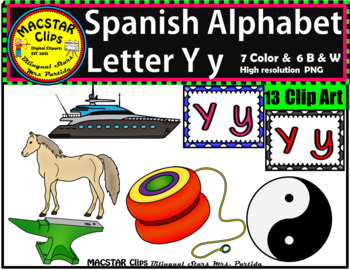 Letter Y y Spanish Alphabet Clip Art   Letra Yy Personal and Commercial Use