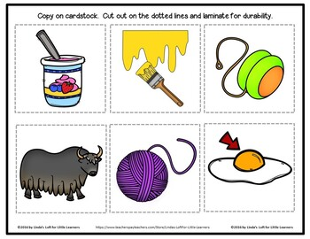 Letter Yy Beginning Sound Picture Web Activity
