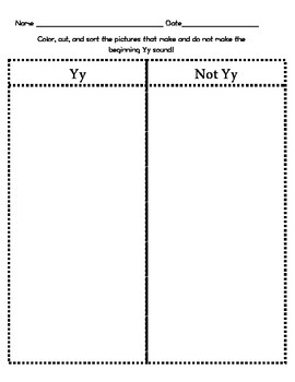 Letter Yy Beginning Sound Sort/Phonemic Awareness