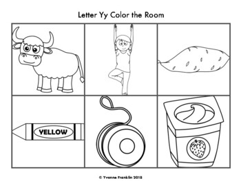 Letter Yy Color, Trace & Write the Room