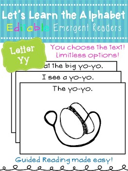 Letter Yy *Editable* Alphabet Emergent Reader