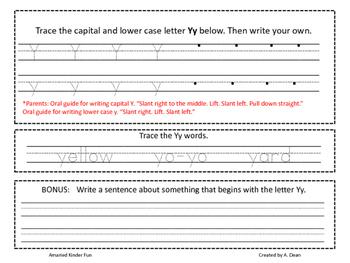 Letter Yy Homework Menu