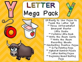 Letter Yy Mega Pack- Kindergarten Alphabet- Handwriting, Little Books, and MORE!