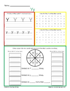 Letter Recognition Yy Practice