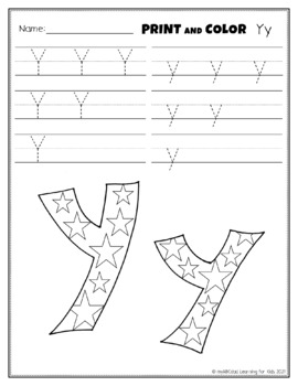 Letter Yy Printing and Pattern Coloring Worksheets