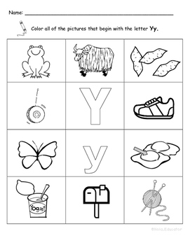 Letter Yy Words Coloring Worksheet