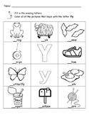 Letter Yy Words Coloring Worksheet