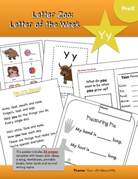 Letter Yy (Y is for YOU): Letter Zoo- Preschool Curriculum