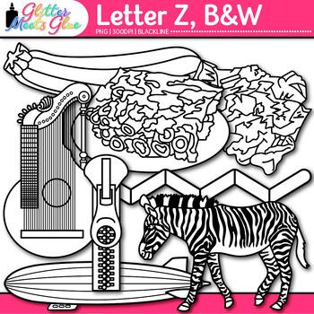 Letter Z Alphabet Clip Art {Teach Phonics, Recognition, and Identification} B&W