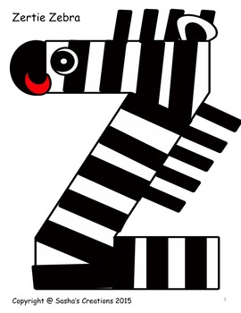 Letter Z Alphabet Craft: Zertie Zebra  Alpha Pal