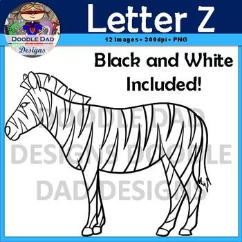 Letter Z Clip Art (Zebra, Zero, Zipper, Zucchini, Zig Zag, Zombie)