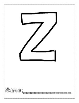 Letter Z Color and Trace AlphaBook