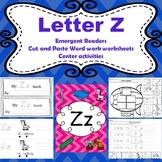 Letter Z activities (emergent readers, word work worksheet