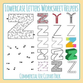 Letter Z (Lowercase) Worksheet Helper Clip Art Set For Commercial Use
