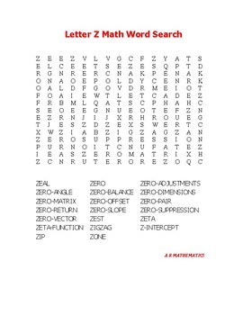 Letter Z Math Word Search