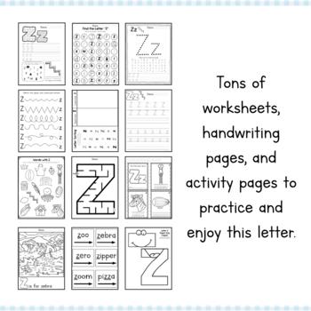Letter Z Preschool Letter of the Week Unit