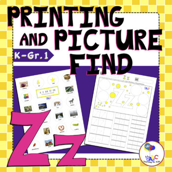 Letter Z Printing and Picture Find Printables   myABCdad Learning for Kids