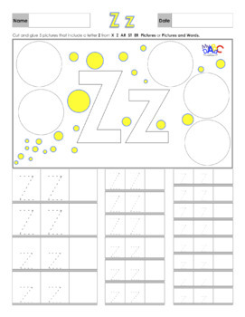Letter Zz Printing and Picture Find Worksheets
