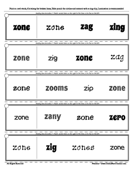 Letter Z Reading Discrimination Strips for Fluency and Recognition ( Edmark )