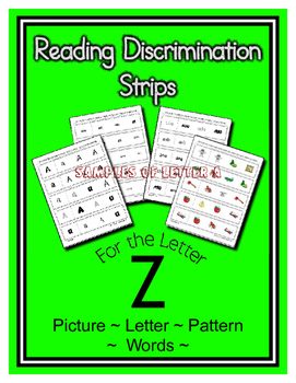 Letter Z Reading Discrimination Strips for Fluency and Rec