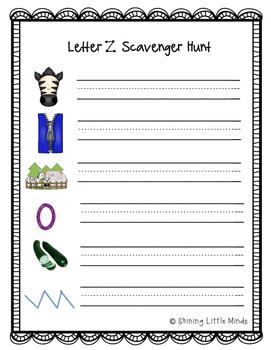 Letter Z Scavenger Hunt