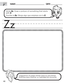 Letter Z Sound worksheet with Instructions translated into Spanish for Parents