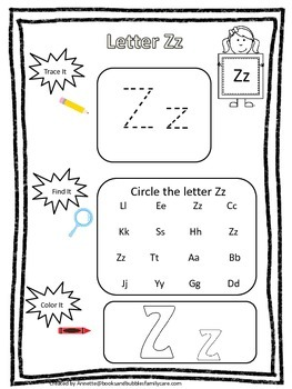 "Letter ""Z"" Trace it, Find it, Color it.  Preschool printable worksheet. Daycare."