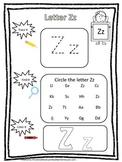 "Letter ""Z"" Trace it, Find it, Color it.  Preschool printable worksheet. Daycare."