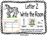 Letter Z Write the Room- Includes 3 levels of answer sheets