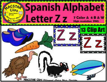 Letter Z z Spanish Alphabet Clip Art   Letra Zz Personal and Commercial Use