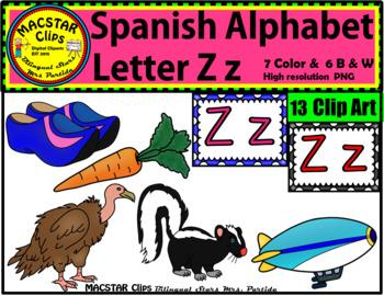 Letter Z z Spanish Alphabet Clip Art   Letra Zz Personal a