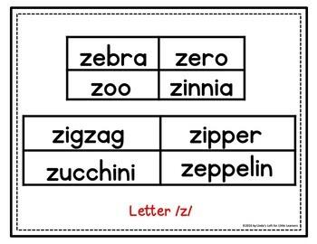 Letter Zz Beginning Sound Picture Web Activity