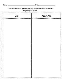 Letter Zz Beginning Sound Sort/Phonemic Awareness