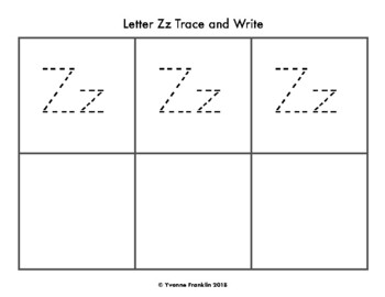 Letter Zz Color, Trace & Write the Room
