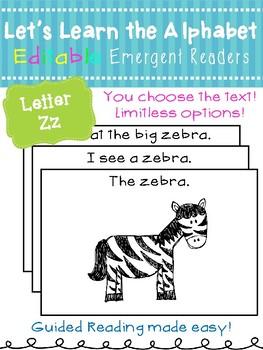 Letter Zz *Editable* Alphabet Emergent Reader