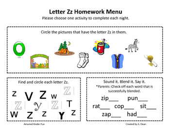 Letter Zz Homework Menu