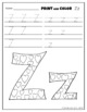Letter Zz Printing and Pattern Coloring Worksheets