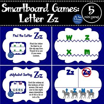 Letter Zz Smartboard Games (5 mini games) (Smartboard/Promethean Board)