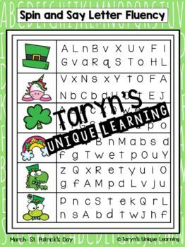Letter and Letter Sound Fluency- March Edition