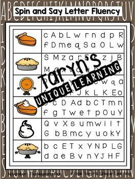 Letter and Letter Sound Fluency- November Edition