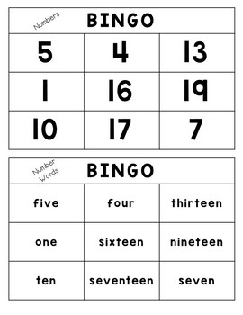 Letter and Number Bingo