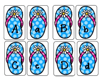 Letter and Number Cards - Flip Flop Theme - Two Sets!