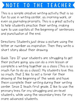 Letter and Number Creative Writing
