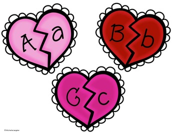Letter and Number Heart Match
