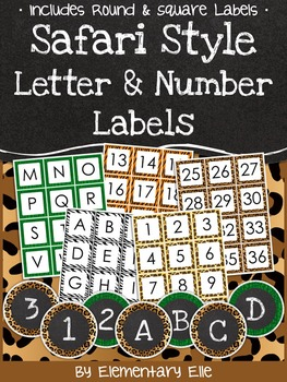 Letter and Number Labels - Safari Style Theme {Jungle and Animal Print}