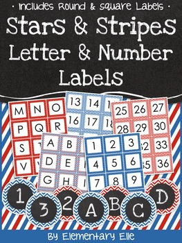 Letter and Number Labels - Stars and Stripes Theme {Red, White, and Blue}