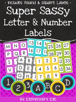 Letter and Number Labels - Super Sassy Theme {Bold and Zebra Print}