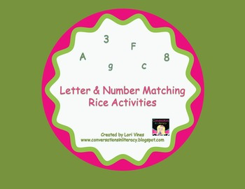 Letter and Number Matching Rice Activity