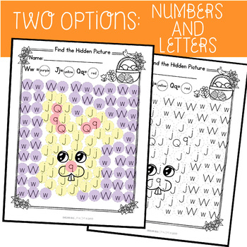 Hidden Pictures Activity with Daubers (Letters & Numbers) Easter